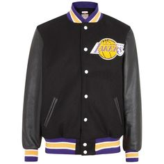 Mitchell & Ness Los Angeles Lakers black leather and wool varsity... (1 045 AUD) ❤ liked on Polyvore featuring men's fashion, men's clothing, men's outerwear, men's jackets, mens wool jacket, mens leather jackets and mens wool outerwear