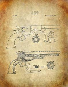 Colt Revolver Patent Art Print - Improvement in Revolving Chambered Fire-Arms Patent Print - Samuel Colt Pistol Patent Art Print Hartford City, Patent Drawing, Vintage Drawing, Patent Prints, Revolver, Antique Prints, Firearms, Wall Art Prints, Vintage World Maps