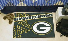 Holiday themed NFL area rug decorates the home, office, or tailgate with festive team spirit in time for the playoffs