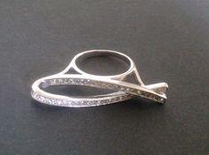 Modernist unusual sterling silver bar ring by CaronPowerJewellery