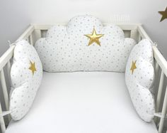 Tour de lit nuages beiges   Etsy Animal Cushions, Cot Bumper, Pregnancy Pillow, Golden Star, Baby Safety, Sewing Toys, Forest Animals, Changing Pad, Little White