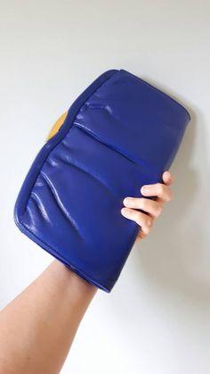 Vintage 1980s Jane Shilton royal blue clutch shoulder bag with detachable shoulder strap by DottysVintageFinds on Etsy
