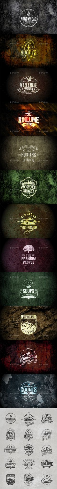 Grunge Badges and Logos #design Download: http://graphicriver.net/item/grunge-badges-and-logos-vol01/13316784?ref=ksioks