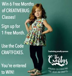 #Win 6 Free Months of @creativebuginc classes! Get 1 Free Month Now! Use the code CRAFTFOXES.