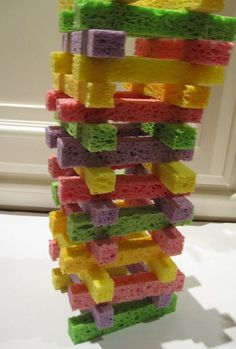 Sponge towers- cheap and QUIET (put paint on these and play with them on a big piece of paper, then when it fell it would leave a really cool design) ~~~ Lots of toddler approved crafts/games on this page ~~~ Kids Crafts, Projects For Kids, Preschool Activities, Young Toddler Activities, Time Activities, Daily Activities, Indoor Activities, Summer Activities, Fine Motor
