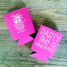 Party like a pineapple with these happy little koozies. Get festive with pink or teal.