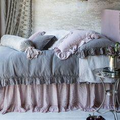 Bella Notte Linens Whisper Linen Duvet Cover – Relish New Orleans Shabby Chic Bedrooms, Shabby Chic Decor, Master Bedroom, Bedroom Decor, Bedding Decor, Master Suite, Purple Bedding, Lavender Bedding, Grey Bedding