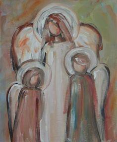 sweet Angel Paintings, Cross Paintings, Art Paintings, Art Party, Oldest Child, Religious Art, Canvas Ideas, Canvas Art, Christmas Art