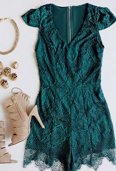 Love this green romper! see my favorite on Southern Elle Style. http://southernellestyle.com/blogfeed/football-season-is-here
