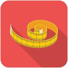 Measuring tape icon on red background - ilustração de arte em vetor