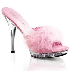 Diaphanous white marabou mule with wide pink toe strap, pink patent inner sole and a sexy 5 inch cm) clear high heels. Delicate and sexy, these mules are also extra comfortable due to the Rosa High Heels, Pink High Heels, Sexy High Heels, Pink Flats, Pink Dress Shoes, Pink Sandals, Heeled Sandals, Clear Heel Shoes, Stiletto Shoes