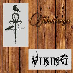 """Monochrome Counted Cross Stich Pattern PDF, crows with a cross, and the word """"Viking"""" di Monterya su Etsy"""