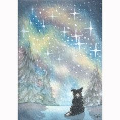 Six greeting cards from a Susan Alison Border Collie dog design, originally painted in watercolor and titled: Starry, starry night  There are six (of this design) greeting cards of exceptional quality, professionally printed on heavy card stock, left blank inside for your own personal greeting.  All six are packed separately with good quality white envelopes in polypropylene sleeves. The cards measure approximately 6x4 inches or 10.5x14.5 cm closed ie they are A6 size.  The colour of the…