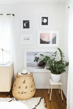 Living room corner with a large vertical gallery wall, an indoor plant, and a woven basket