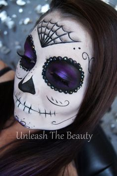 Sugar Skull Makeup Transformation • Free tutorial with pictures on how to create a face painting in under 60 minutes