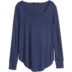 H&M Jersey top ($9.85) ❤ liked on Polyvore featuring tops, shirts, sweaters, long sleeved, dark blue, rayon shirts, jersey tops, long sleeve shirts, dark blue long sleeve shirt and shirts & tops