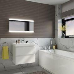 500 x 700 mm Illuminated LED Bathroom Mirror With Light Vanity Light Sensor + Demister Bathroom Mirrors LED Mirror Modern Bathroom Mirrors, Bathroom Paneling, Light Fixtures Bathroom Vanity, Bathroom Cladding, Bathroom Mirror Lights, Led Mirror, Mirror With Lights, Bathroom Lighting, Bathroom Furniture