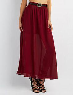 Half-Sheer Maxi Skirt: Charlotte Russe