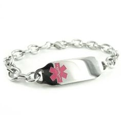 Pre Engraved - Taking Warfarin, Ladies Medical ID Bracelet, Pink Symbol, Wallet Card Inld My Identity Doctor. $41.99