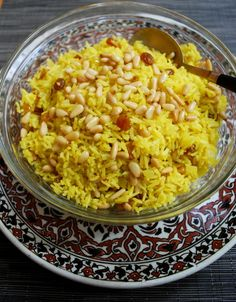 Saffron rice with pine nuts & golden raisins...i bet it would be just as yummy with quinoa!