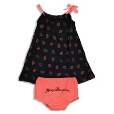 Harley Davidson, 2 piece dress set in black and coral