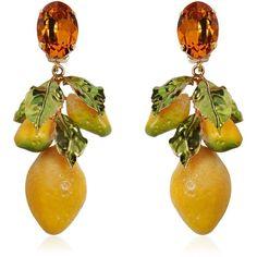 Dolce & Gabbana Women Lemons Drop Clip Earrings (74125 RSD) ❤ liked on Polyvore featuring jewelry, earrings, drop clip earrings, dolce gabbana earrings, nickel free earrings, clip on drop earrings and lemon jewelry