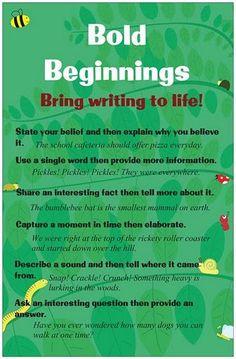 Beg, Borrow, and Teach!: Writing Hooks: Bold Beginnings Freebie ...
