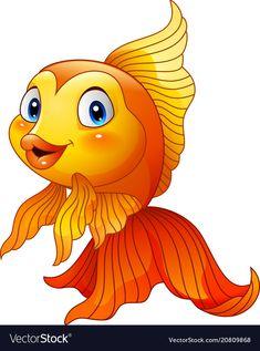 Cartoon golden fish vector image on VectorStock Fish Drawings, Art Drawings For Kids, Drawing For Kids, Animal Drawings, Cute Drawings, Cartoon Fish, Cute Cartoon, Image Of Fish, Pisces
