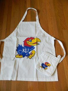 KU Apron Sports Coverage Kansas Jayhawks KU Chef's Kitchen Apron w. Pot Holder #SportsCoverage