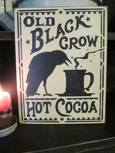 Old Black Crow Hot Cocoa Primitive by DaisyPatchPrimitives on Etsy, $16.00