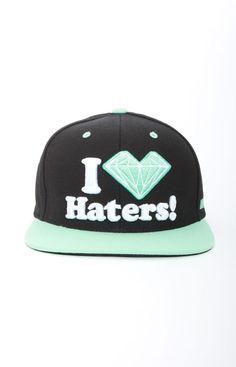 DGK x Diamond Supply, Haters Snap-Back Hat - Black/Mint