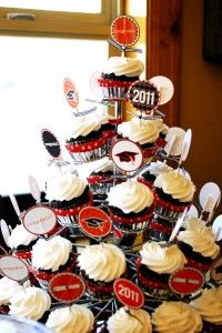 Cupcake Tower--- Cheap alternative to metal cupcake tower would be 3-4 different sized boxes stacked, wrapped in coordinating wrapping paper, with ribbon.
