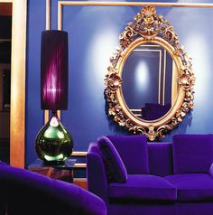 Blue Lounge at the Hotel Galway Lose the mirror and replace with fitting Artwork! Otherwise, stunning! Decor, House Design, Interior Inspiration, Shades Of Purple, Interior, Mirror Wall, Blue Lounge, Beautiful Mirrors, Home Decor