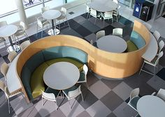 """Talk about a cool shot from SUNY Oneonta! How would a Hampton Curve Banquette """"S"""" configuration look in your space? http://www.agati.com/inst-univ-suny/"""
