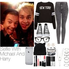 Selfie With Michael And Harry by lauren-12-pyd on Polyvore featuring Topshop, Converse, Charlotte Russe, Domo Beads, Henri Bendel, Forever 21, Monki, All Day and NARS Cosmetics