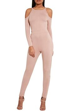 Rokiney Pink Tight Open Shoulder Long Sleeve Jumpsuit Rompers Pants M For Women -- Awesome products selected by Anna Churchill