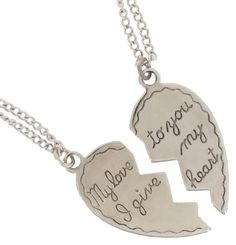 Silver Plate Pendant Necklace Best Friends Bff Set Sweetheart My Love Heart 2 Piece USA