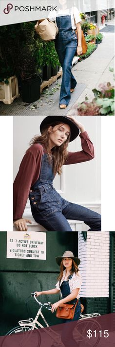 """Madewell Flea Market Overalls Our '70s cover girl flares reborn as sleek, legs-for-days overalls. Made of dark Italian denim, this one-piece is undeniably sophisticated (and guarantees an unbeatably sweet rearview).    Fitted through hip and thigh, with a flared leg. Front rise: 9 1/4"""". Inseam: 33"""". Premium Candiani denim. 98% cotton/2% elastane. Machine wash.  NWOT! Madewell Jeans Overalls"""