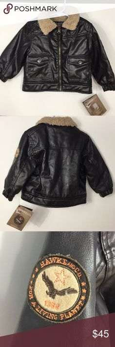 Hawke & Co.>Toddler faux leather moto jacket NWT Adorable toddler aviator/motorcycle jacket by Hawley & Co. Faux brown leather look with faux fur lining. Real snap pockets with hawk logo on snaps. Quilted -look on shoulders, elastic at wrists. NWT. No longer available on website. 11/26/17 Everything Kids Party Host Pick by @gininsc! Hawke & Co Jackets & Coats