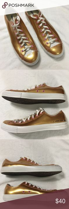 """Converse All Star Gold/Pink """"I Luv You Mo"""" Size 12 This is a pair of Converse All Star, Leather, Gold with Pink Outlets, with the phrase """"I LUV YOU MO"""" on the sides and are a size US Men's 12, Women's 14, Euro 46.4. These shoes are New Without the Box and have never been worn. Please take a look at all photos for condition and if you have any questions feel free to ask. Converse Shoes Sneakers"""