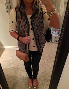 polka dot sweater, herringbone vest, cute bling, & tory purse ! love !!