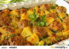 Zapečené mleté kuličky s bramborami a smetanou recept - TopRecepty.cz Gnocchi, Ground Meat Recipes, Ratatouille, Quiche, Vegetarian Recipes, Food And Drink, Treats, Chicken, Vegetables