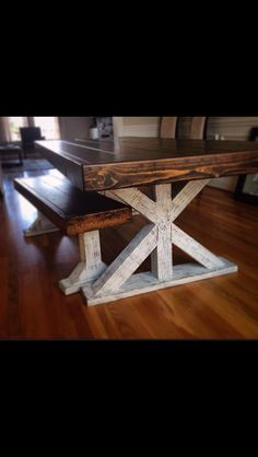 Farm style table - farmhouse table with benches - reclaimed wood kitchen table - rustic table - Restoration Hardware inspired by GriffinFurniture on Etsy Farmhouse Table With Bench, Rustic Table, Farmhouse Furniture, Wood Table, Diy Furniture, Farm Style Table, Reclaimed Wood Kitchen, Decoration, Farm Tables