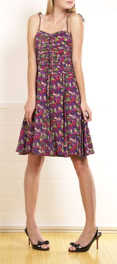 Marc Jacobs Collection Pink/Purple Printed Silk Dress .... cute just needs a cardigan
