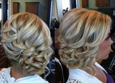 Loose braid to bun. Curly to the side up do