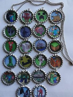 Minecraft Bottle Cap Necklace Great Party Favors Gifts U Choose Party Pack | eBay