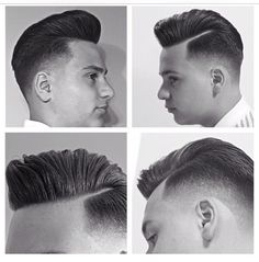 Pompadour Fade With a Hard Part by Jason Reyes, with Shiro Shears Hair And Beard Styles, Short Hair Styles, Haircuts For Receding Hairline, Short Layered Bob Haircuts, Pompadour Fade, Side Part Hairstyles, Top Stylist, Faded Hair, Mens Hair Trends