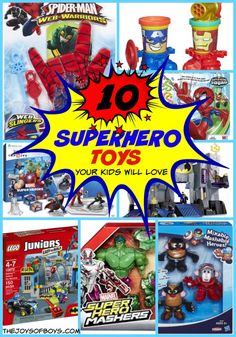 Searching for that perfect Christmas or Birthday gift for the Superhero on your gift list? These 10 Superhero Toys Your Kids Will Love are PERFECT!  My boys have many of these and they are a favorite at our house!