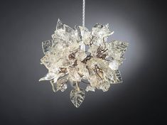 Chandelier lighting. Crystal clear flowers and by Flowersinlight, $139.00