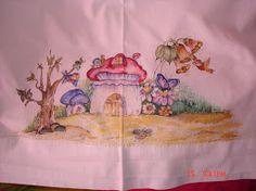 Pintura que fiz, num lençol da minha neta adorada.